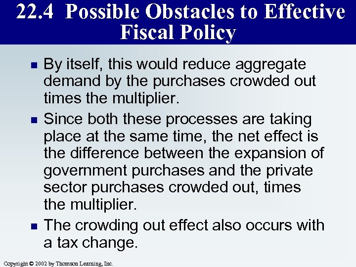 22. 4 Possible Obstacles to Effective Fiscal Policy n n n By itself, this