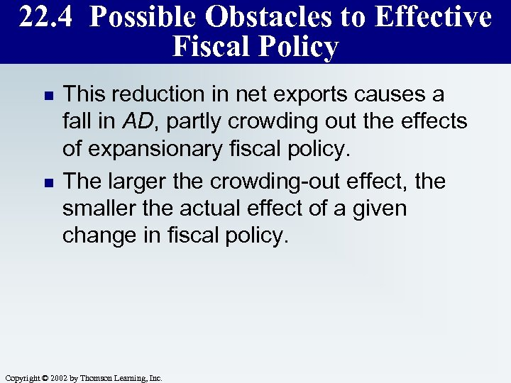 22. 4 Possible Obstacles to Effective Fiscal Policy n n This reduction in net