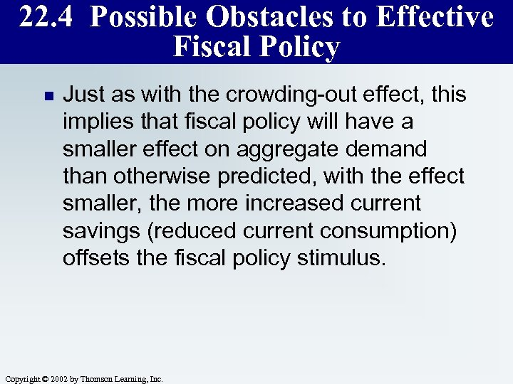 22. 4 Possible Obstacles to Effective Fiscal Policy n Just as with the crowding-out