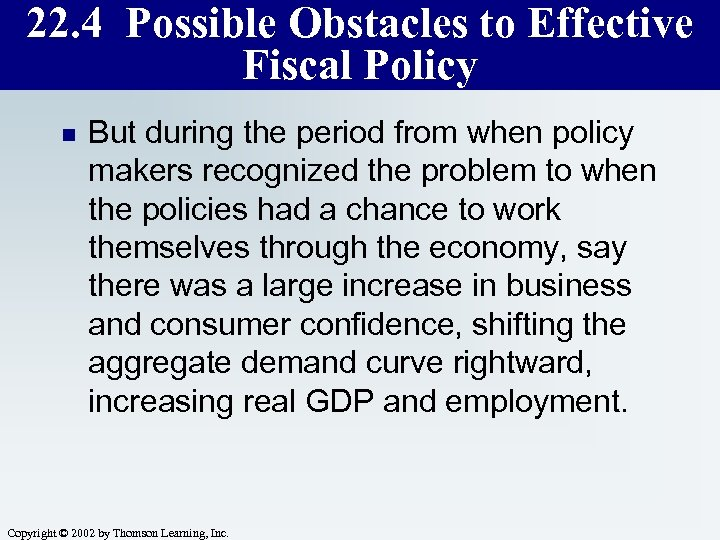 22. 4 Possible Obstacles to Effective Fiscal Policy n But during the period from