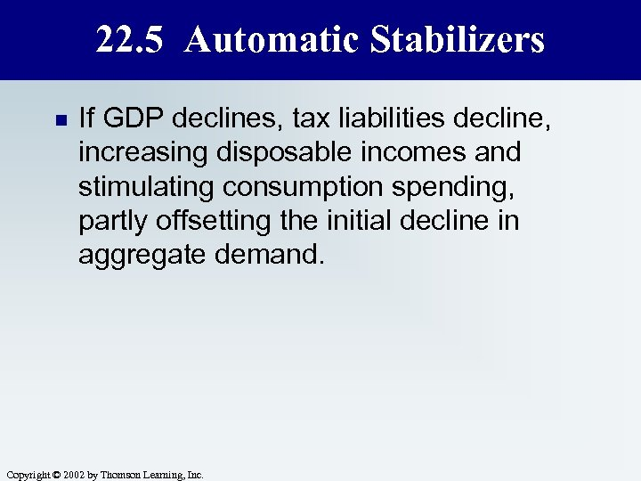22. 5 Automatic Stabilizers n If GDP declines, tax liabilities decline, increasing disposable incomes