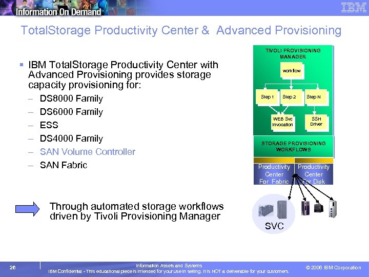 Total. Storage Productivity Center & Advanced Provisioning § IBM Total. Storage Productivity Center with