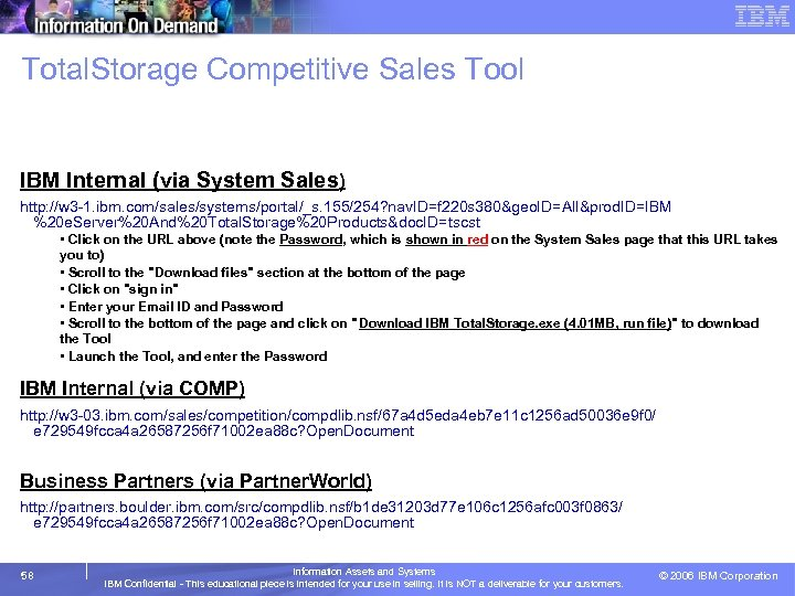 Total. Storage Competitive Sales Tool • Follow the instructions below to access this tool