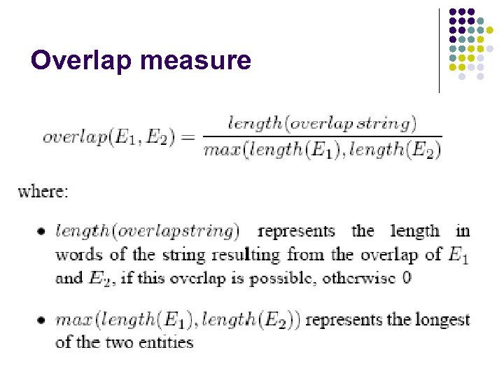 Overlap measure