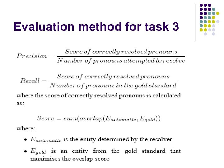 Evaluation method for task 3