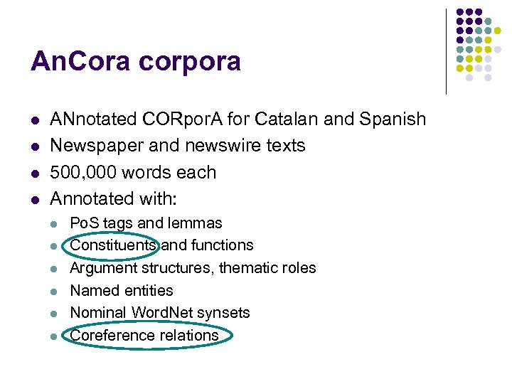 An. Cora corpora l l ANnotated CORpor. A for Catalan and Spanish Newspaper and