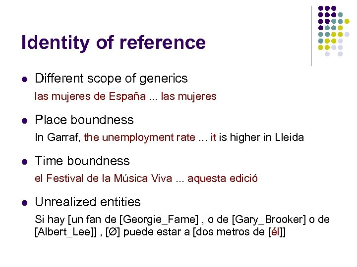 Identity of reference l Different scope of generics las mujeres de España. . .