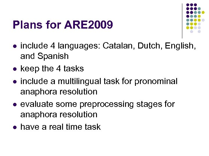 Plans for ARE 2009 l l l include 4 languages: Catalan, Dutch, English, and