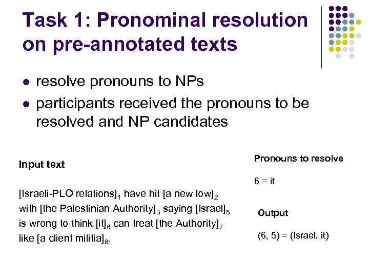 Task 1: Pronominal resolution on pre-annotated texts l l resolve pronouns to NPs participants