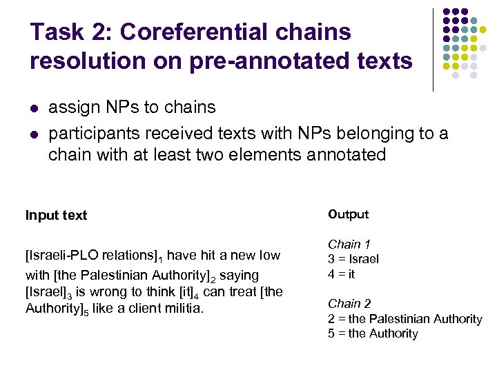 Task 2: Coreferential chains resolution on pre-annotated texts l l assign NPs to chains