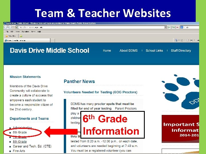 Team & Teacher Websites 6 th Grade Information