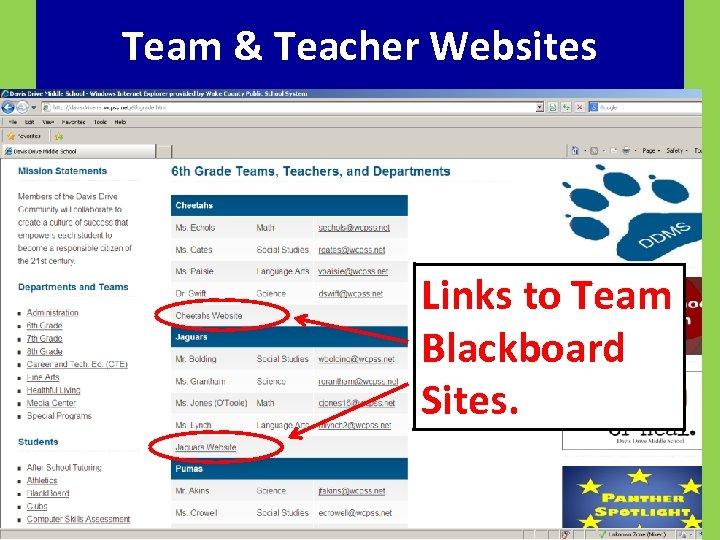 Team & Teacher Websites Links to Team Blackboard Sites.