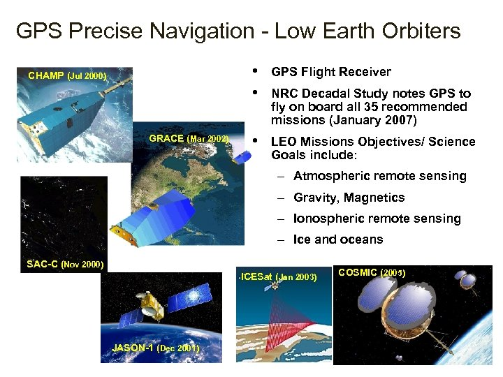 GPS Precise Navigation - Low Earth Orbiters • • CHAMP (Jul 2000) GRACE (Mar