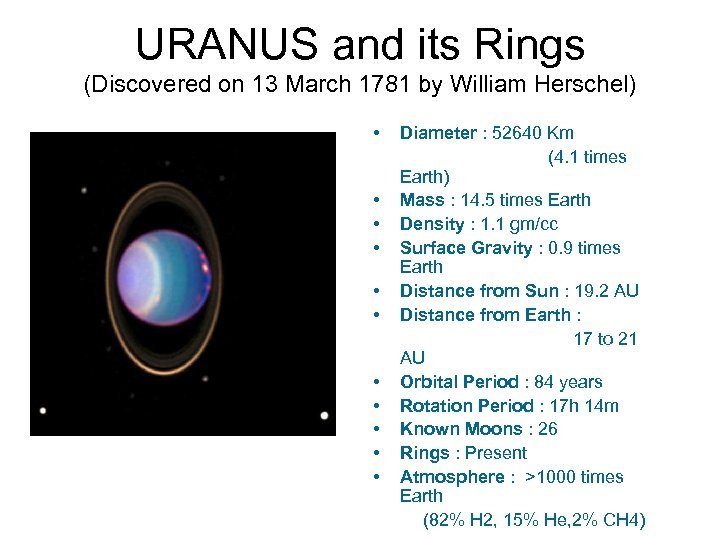 URANUS and its Rings (Discovered on 13 March 1781 by William Herschel) • •