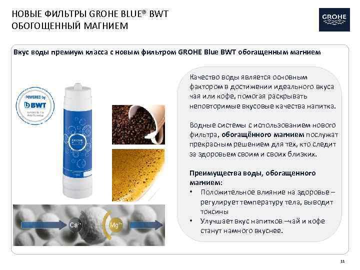 НОВЫЕ ФИЛЬТРЫ GROHE BLUE® BWT ОБОГОЩЕННЫЙ МАГНИЕМ Вкус воды премиум класса с новым фильтром