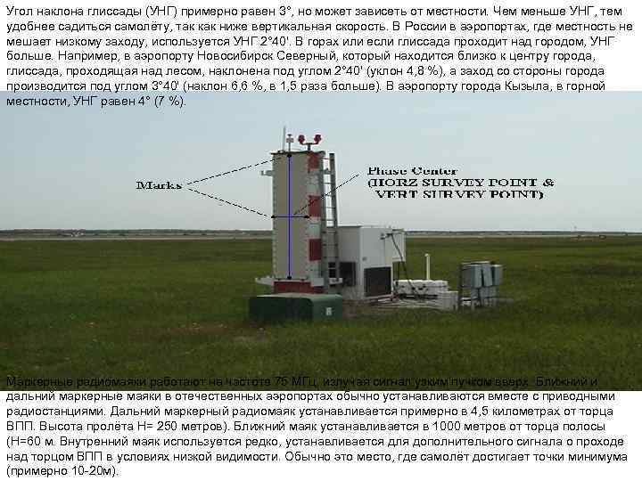 Угол наклона глиссады (УНГ) примерно равен 3°, но может зависеть от местности. Чем меньше