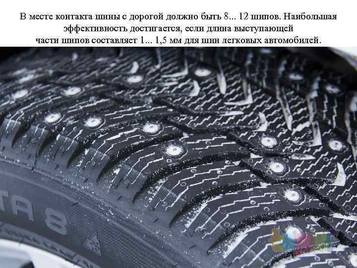 В месте контакта шины с дорогой должно быть 8. . . 12 шипов. Наибольшая