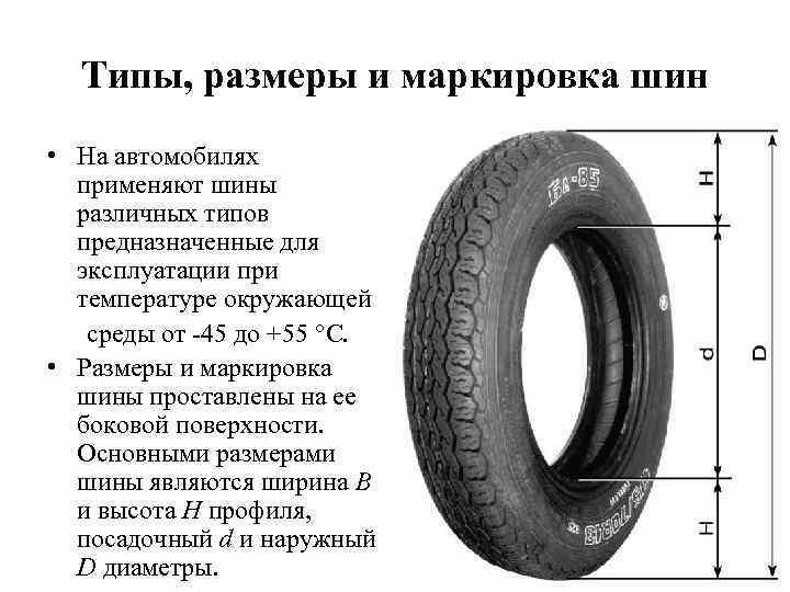 Типы, размеры и маркировка шин • На автомобилях применяют шины различных типов предназначенные для