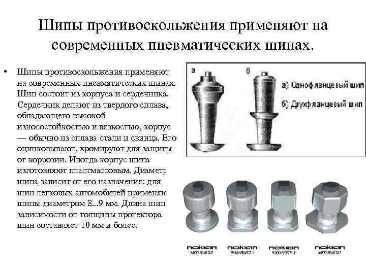 Шипы противоскольжения применяют на современных пневматических шинах. • Шипы противоскольжения применяют на современных пневматических