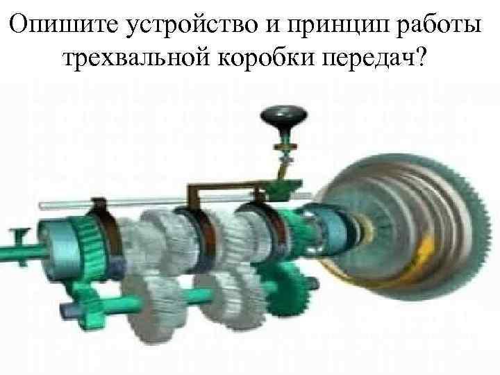 Опишите устройство и принцип работы трехвальной коробки передач?