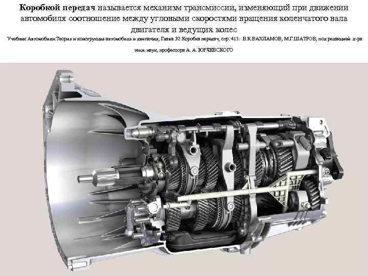Коробкой передач называется механизм трансмиссии, изменяющий при движении автомобиля соотношение между угловыми скоростями вращения