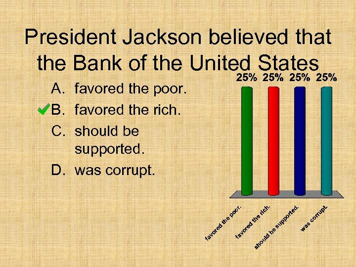 President Jackson believed that the Bank of the United States A. favored the poor.