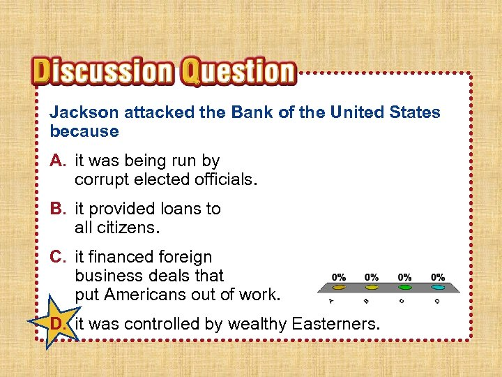 Jackson attacked the Bank of the United States because A. it was being run
