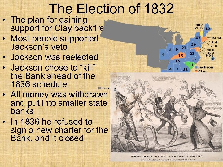The Election of 1832 • The plan for gaining support for Clay backfired •