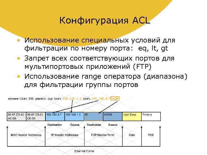 Конфигурация ACL • Использование специальных условий для фильтрации по номеру порта: eq, lt, gt