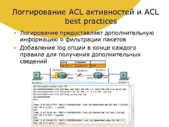 Логгирование ACL активностей и ACL best practices • Логирование предоставляет дополнительную информацию о фильтрации