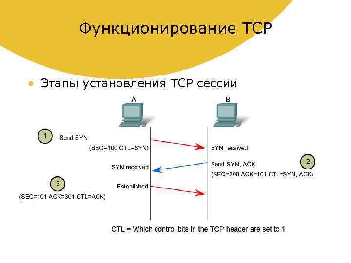 Функционирование TCP • Этапы установления TCP сессии