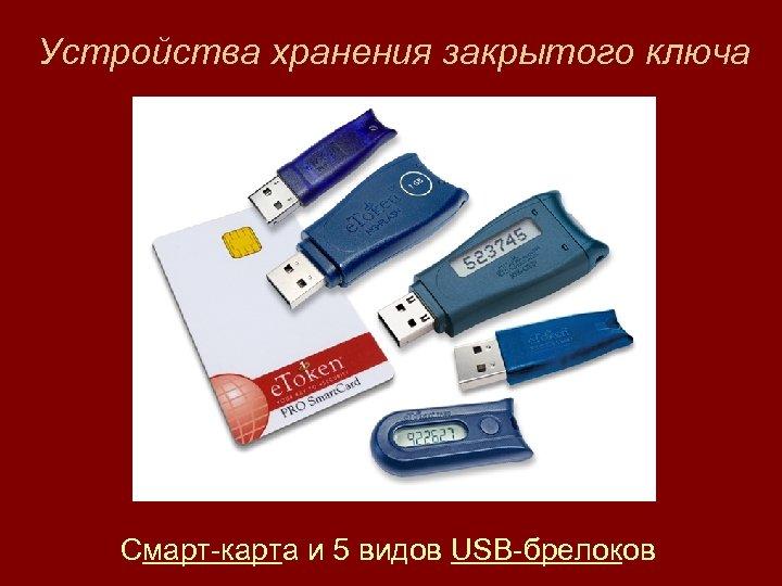 Устройства хранения закрытого ключа Смарт-карта и 5 видов USB-брелоков