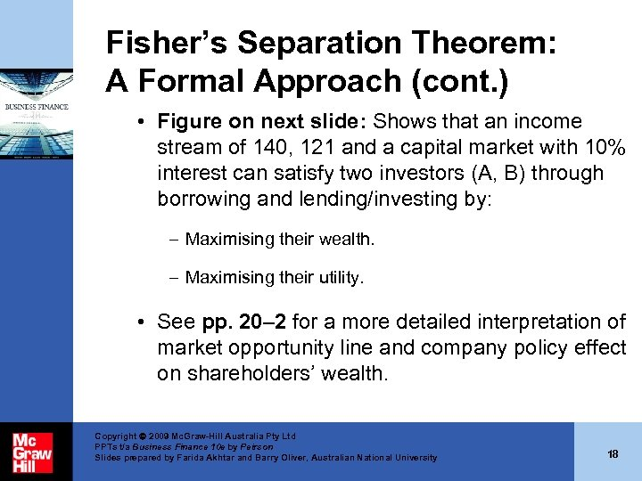 Fisher's Separation Theorem: A Formal Approach (cont. ) • Figure on next slide: Shows