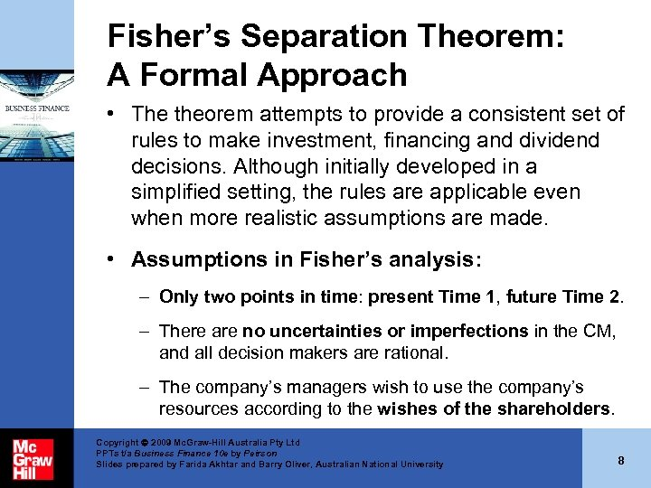 Fisher's Separation Theorem: A Formal Approach • The theorem attempts to provide a consistent
