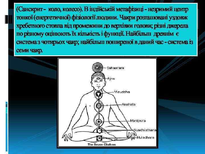 (Санскрит - коло, колесо). В індійській метафізиці - незримий центр тонкої (енергетичної) фізіології людини.
