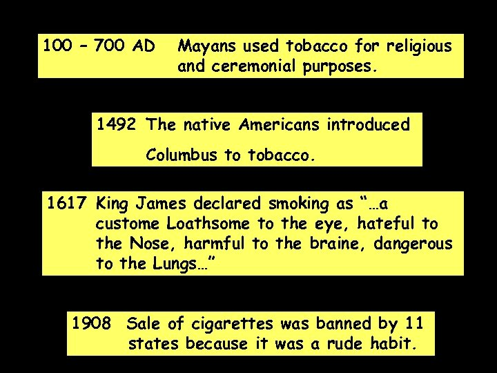 100 – 700 AD Mayans used tobacco for religious and ceremonial purposes. 1492 The