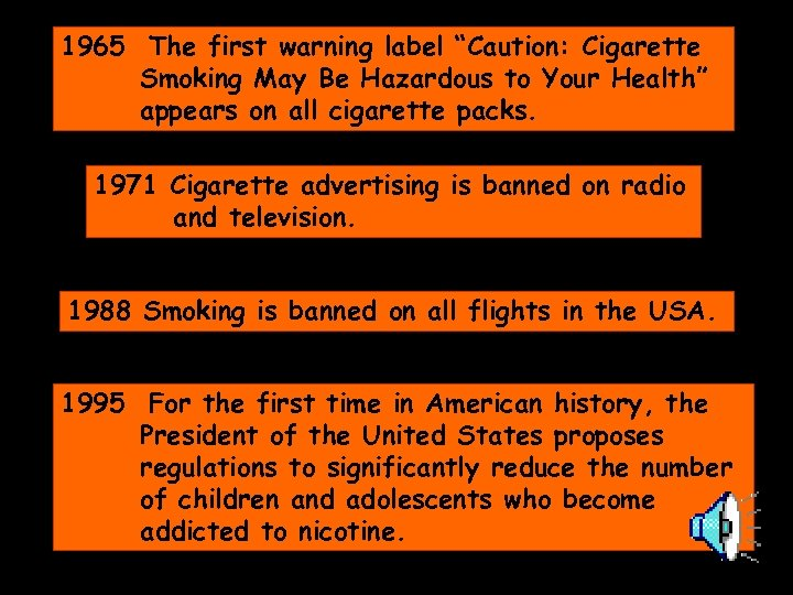 "1965 The first warning label ""Caution: Cigarette Smoking May Be Hazardous to Your Health"""