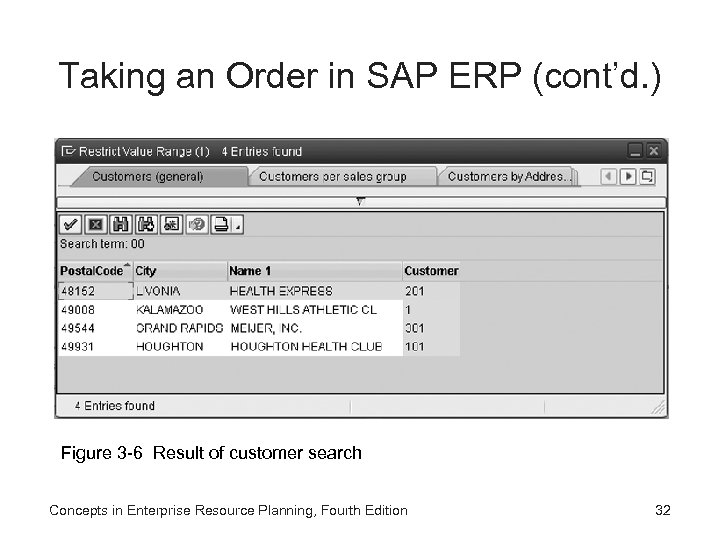 Taking an Order in SAP ERP (cont'd. ) Figure 3 -6 Result of customer