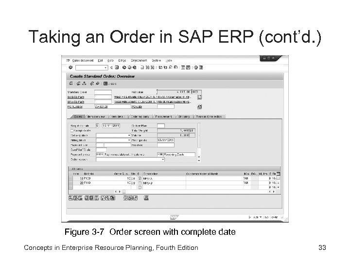 Taking an Order in SAP ERP (cont'd. ) Figure 3 -7 Order screen with