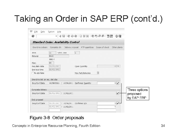 Taking an Order in SAP ERP (cont'd. ) Figure 3 -8 Order proposals Concepts