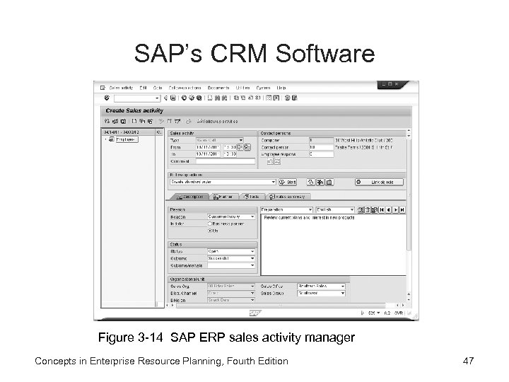 SAP's CRM Software Figure 3 -14 SAP ERP sales activity manager Concepts in Enterprise
