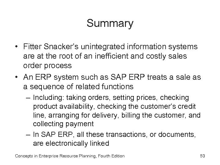 Summary • Fitter Snacker's unintegrated information systems are at the root of an inefficient