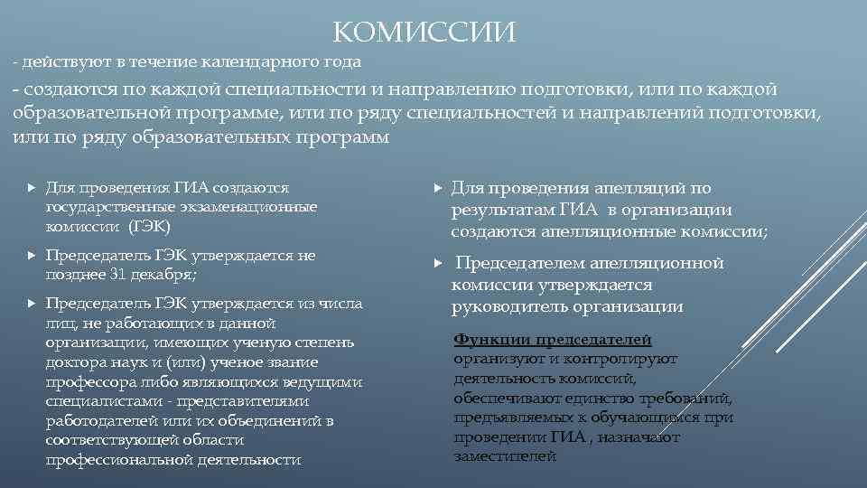 КОМИССИИ - действуют в течение календарного года - создаются по каждой специальности и направлению