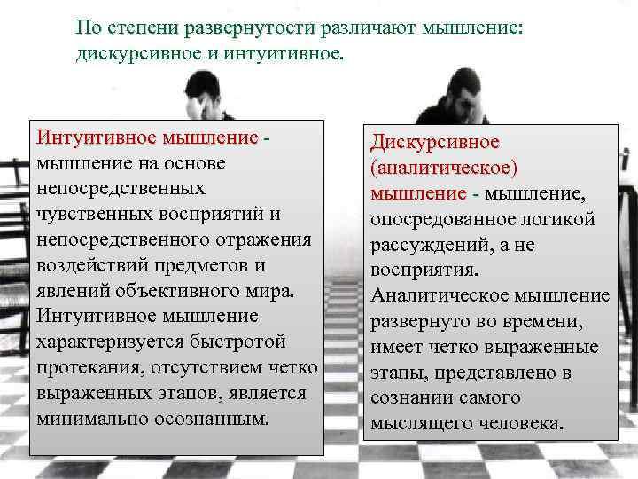 По степени развернутости различают мышление: дискурсивное и интуитивное. Интуитивное мышление на основе непосредственных чувственных