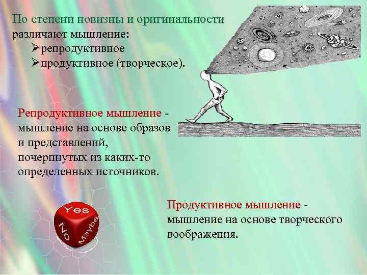 По степени новизны и оригинальности различают мышление: Øрепродуктивное Øпродуктивное (творческое). Репродуктивное мышление на основе