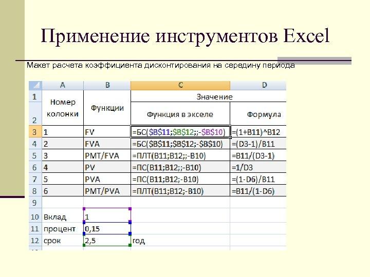 Применение инструментов Excel Макет расчета коэффициента дисконтирования на середину периода