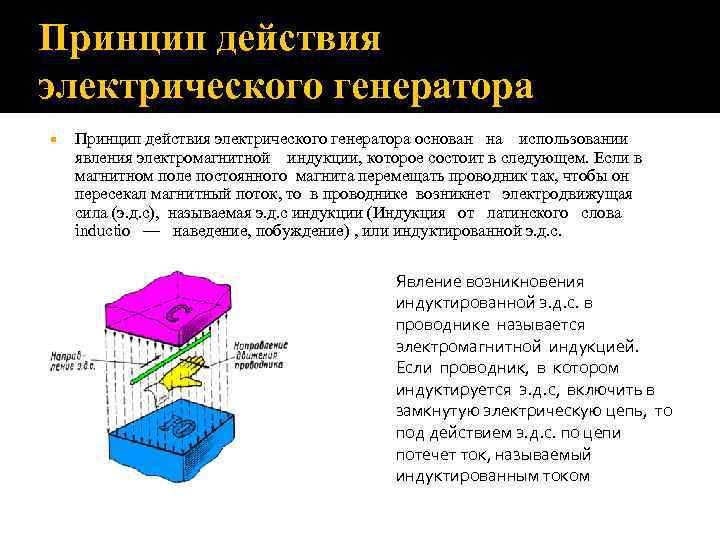 Принцип действия электрического генератора основан на использовании явления электромагнитной индукции, которое состоит в следующем.