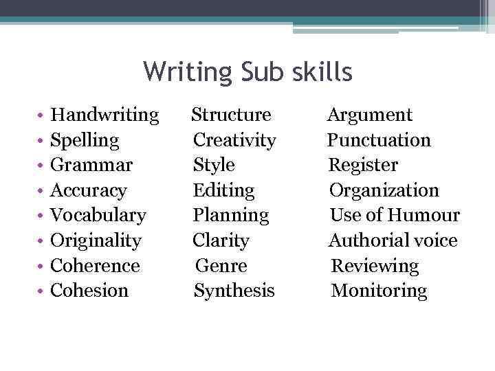 sub skills of writing