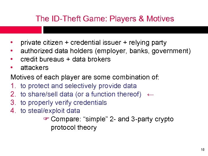 The ID-Theft Game: Players & Motives • private citizen + credential issuer + relying