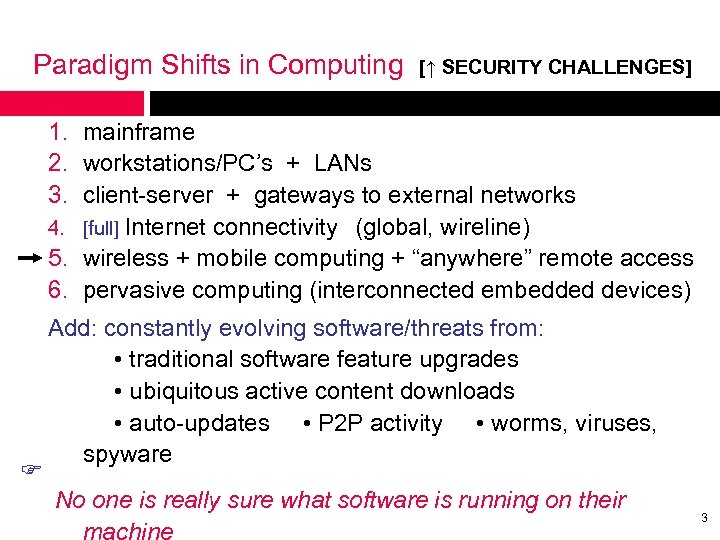 Paradigm Shifts in Computing [↑ SECURITY CHALLENGES] 1. mainframe 2. workstations/PC's + LANs 3.